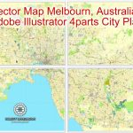 Melbourne, Australia In Adobe Illustrator, Printable Vector Street 4 Parts   Melbourne Cbd Map Printable