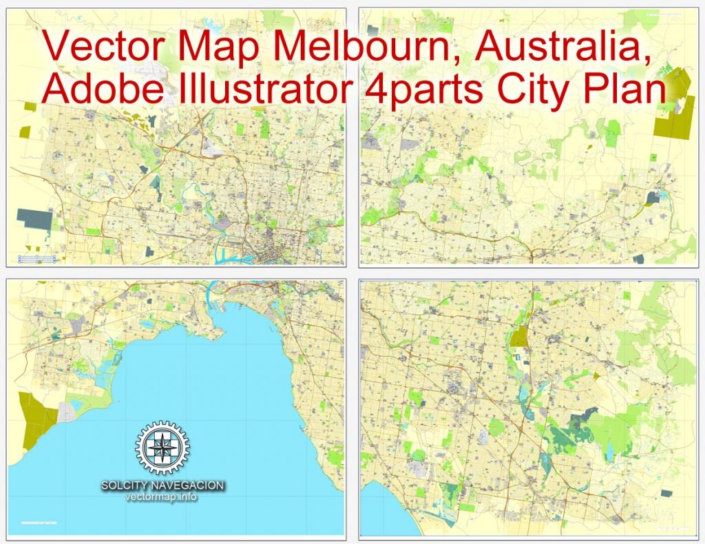 Melbourne, Australia In Adobe Illustrator, Printable Vector Street 4 Parts - Melbourne Cbd Map Printable