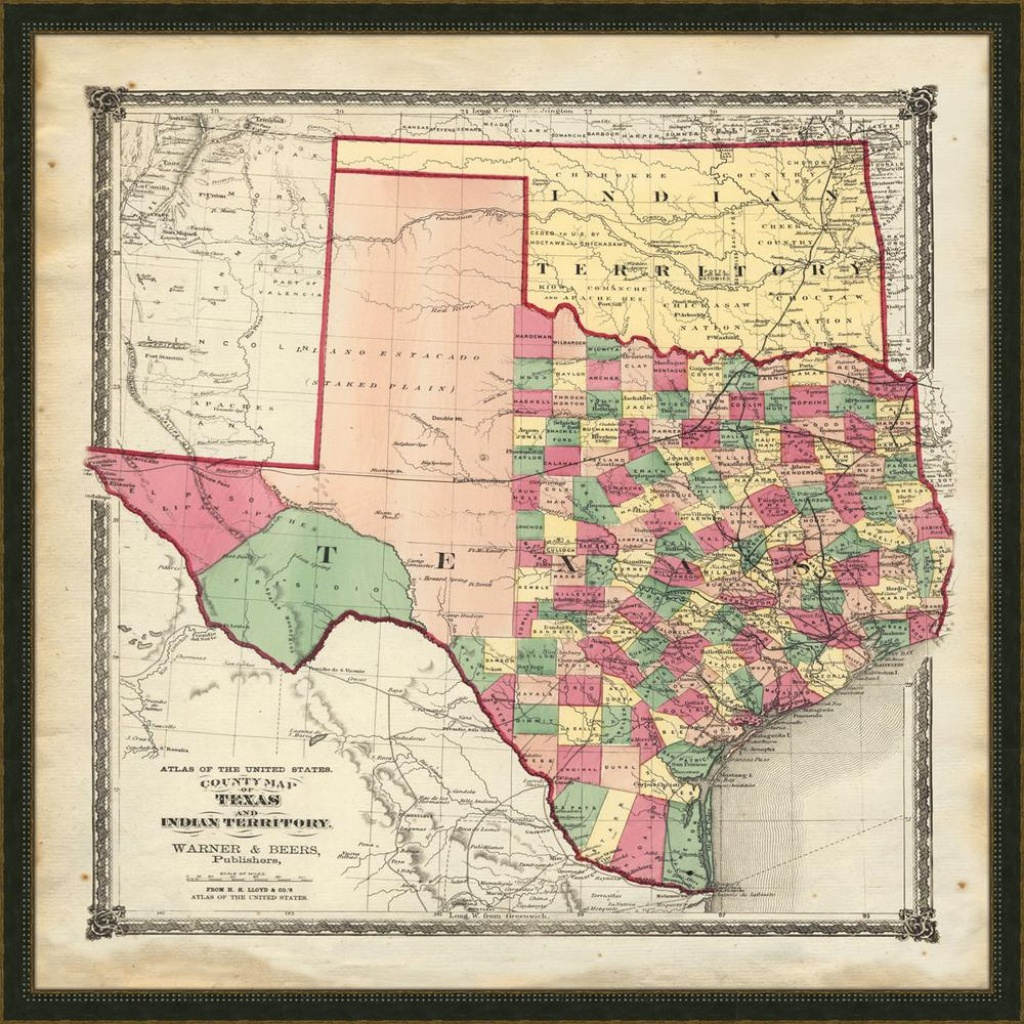 "Melissa Van Hise 32 In. X 32 In. ""vintage Map Of Texas"" Framed - Vintage Texas Map Framed"