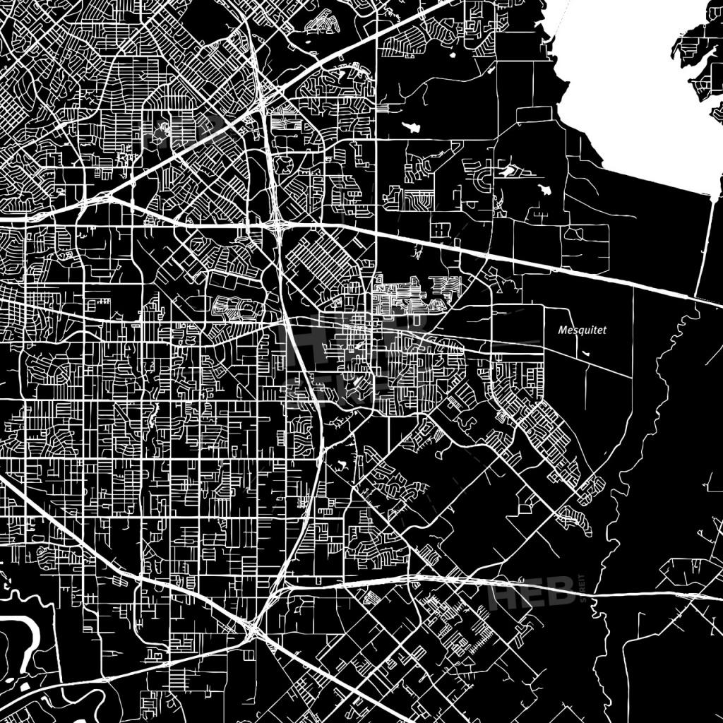 Mesquite, Texas, Downtown Map, Dark - Mesquite Texas Map