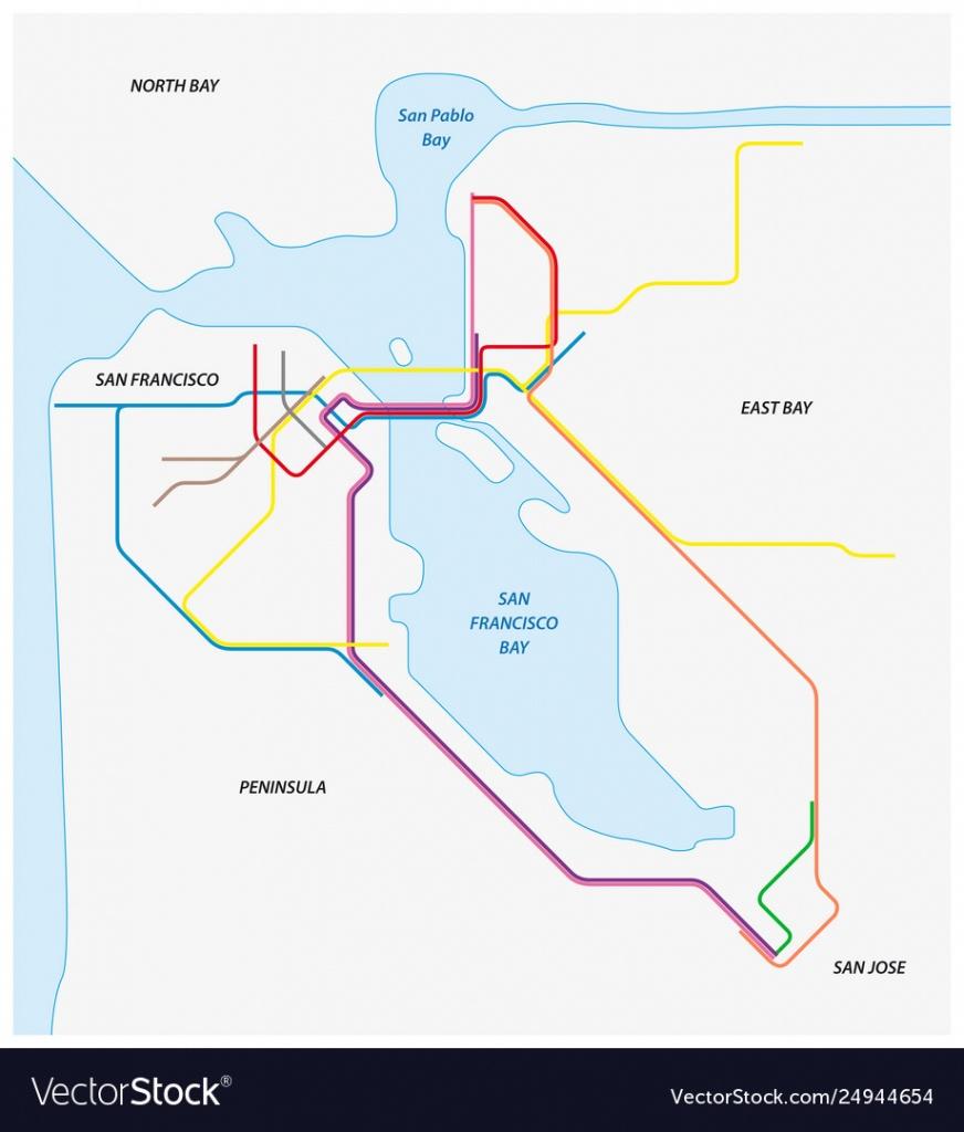 Metro Map San Francisco And California Bay Vector Image - California Metro Map
