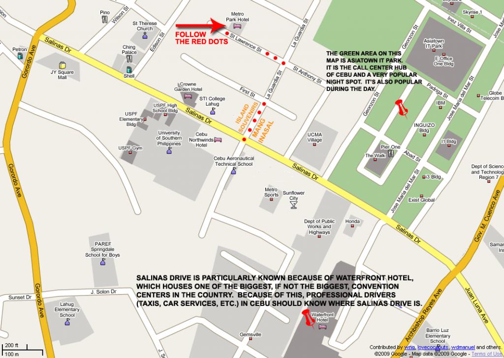 Metro Park Hotel Map (Print Version) - Cebu City Map Printable