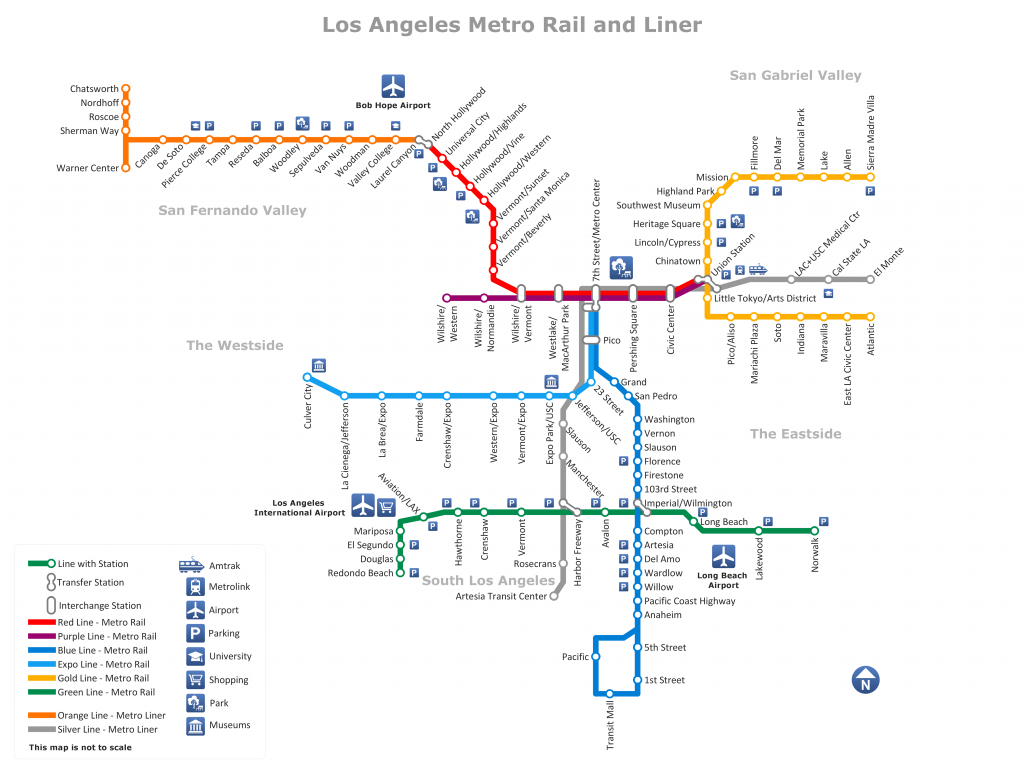 Metro Rail And Liner Los Angeles Map Www.conceptdraw - California Metro Rail Map