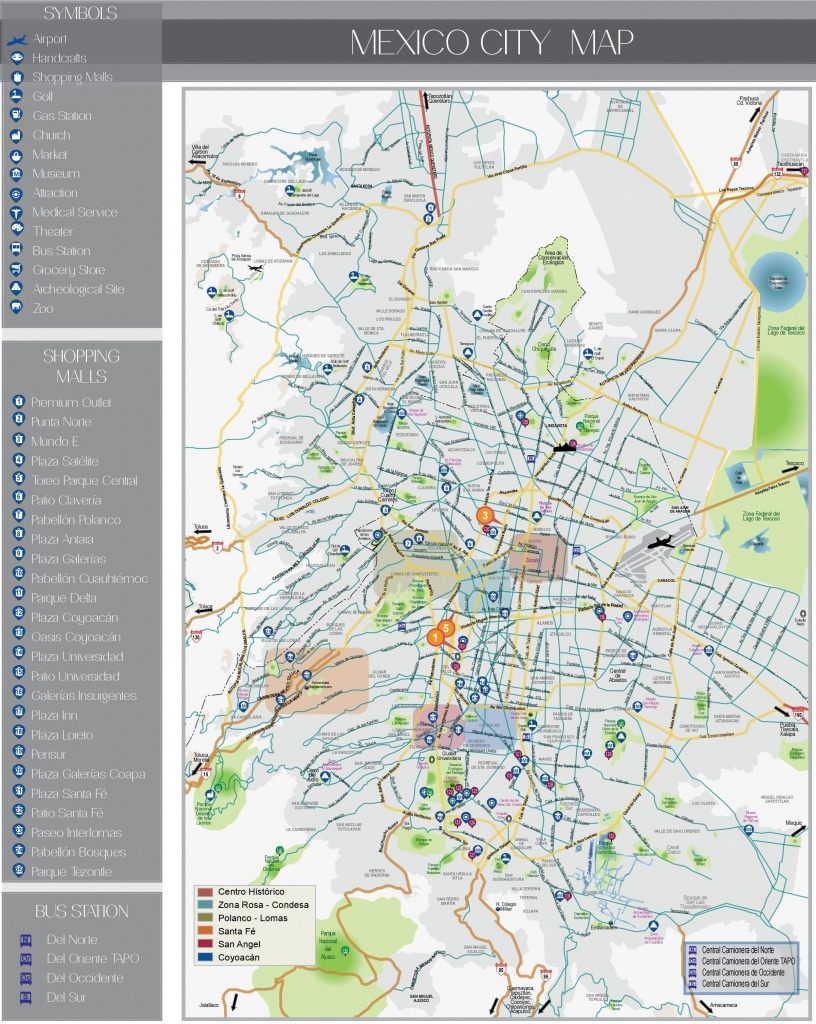 Mexico City Tourist Attractions Map - Printable Map Of Mexico City