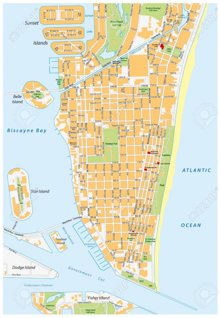 Miami Beach Detailed Vector Street Map With Names, Florida, Royalty - Map Of Miami Beach Florida