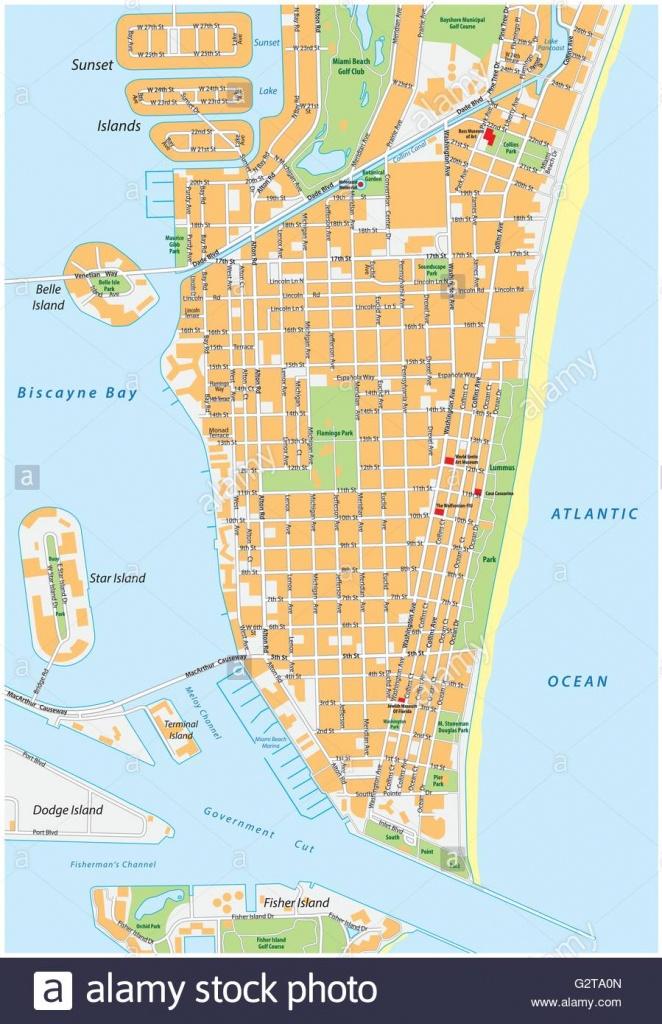 Miami Beach Detailed Vector Street Map With Names, Florida Stock - Street Map Of Miami Florida