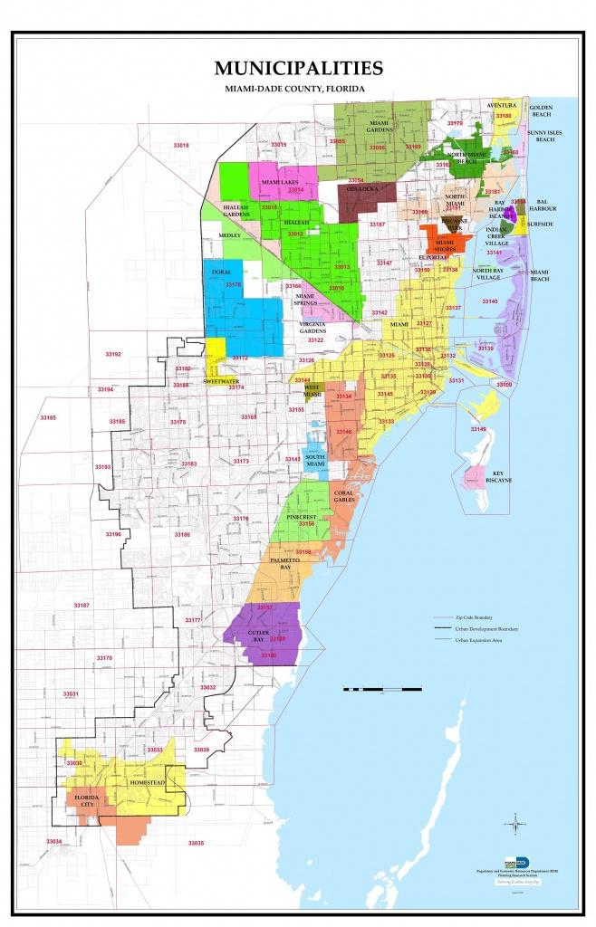 Miami-Dade County Florida Zip Code And Municipalities Map - Map Of Dade County Florida