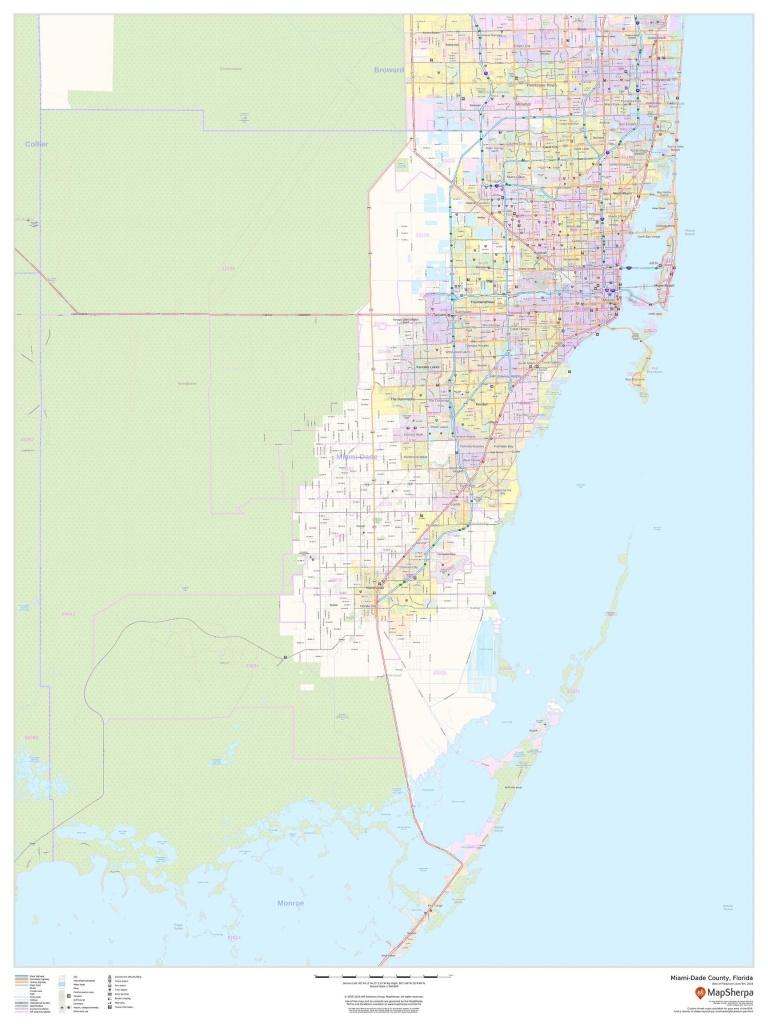 Miami-Dade County Map, Florida - Map Of Dade County Florida