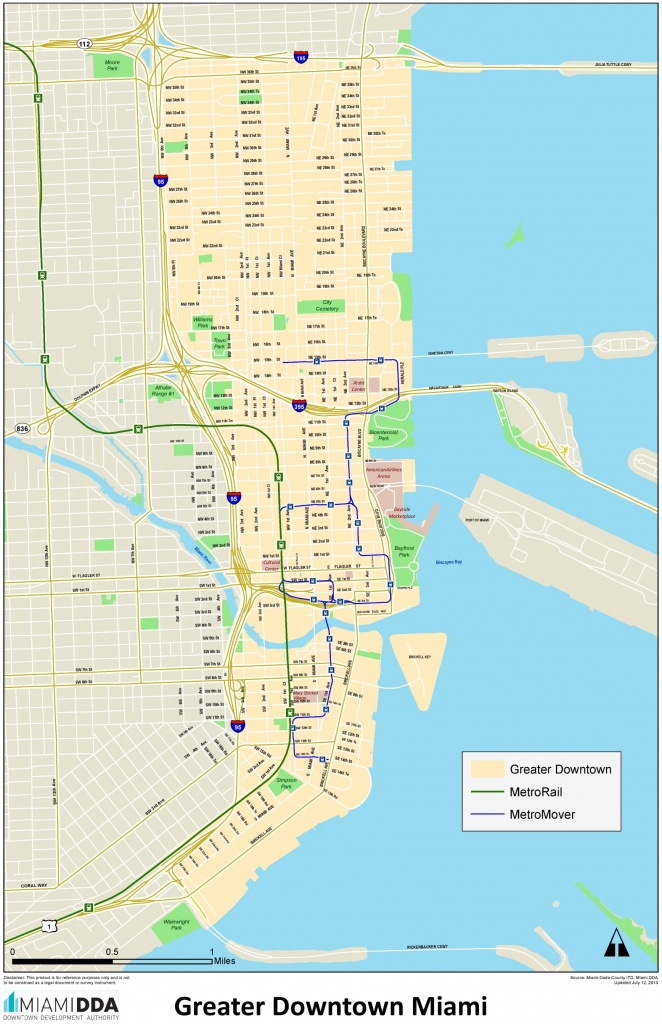 Miami Downtown Map - The Map Of Miami Florida