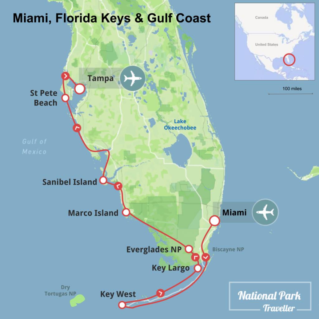 Miami, Florida Keys And Gulf Coast   National Park Traveller - Map Of Florida Keys And Miami