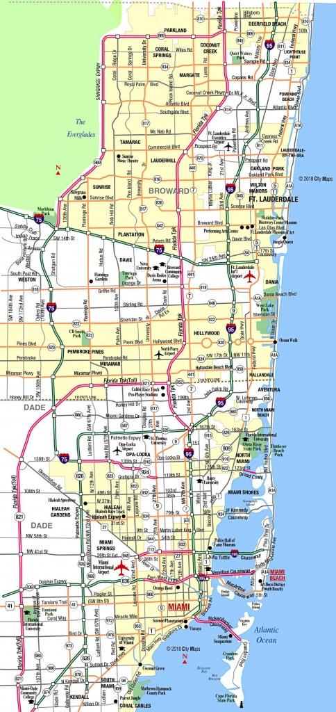 Miami Metropolitan Area Highways - Aaccessmaps - Map Of Miami Florida And Surrounding Areas