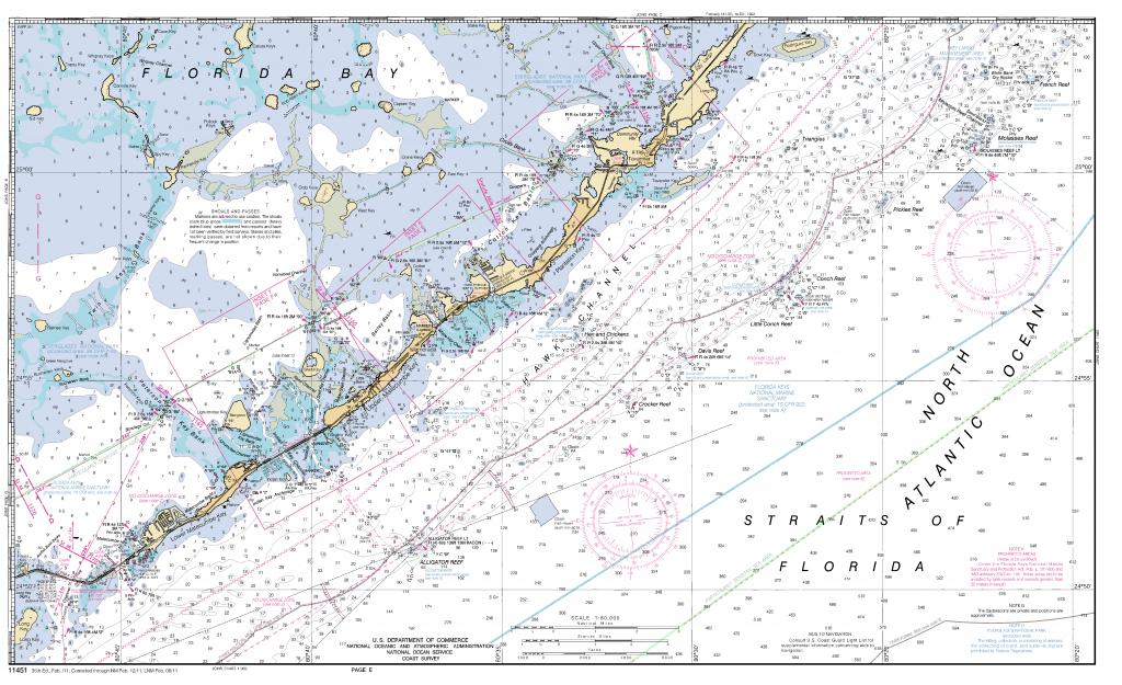 Miami To Marathon And Florida Bay Page E Nautical Chart - Νοαα - Florida Keys Nautical Map