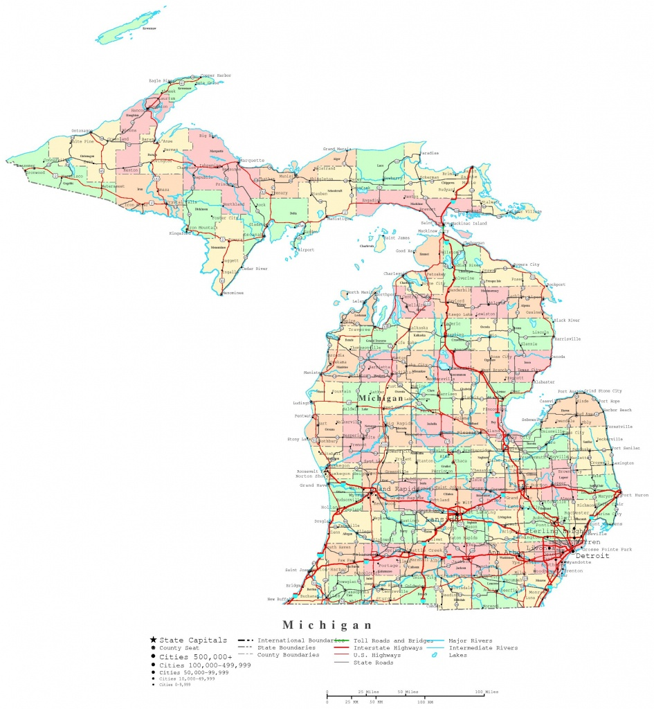 Michigan Printable Map - Michigan County Maps Printable