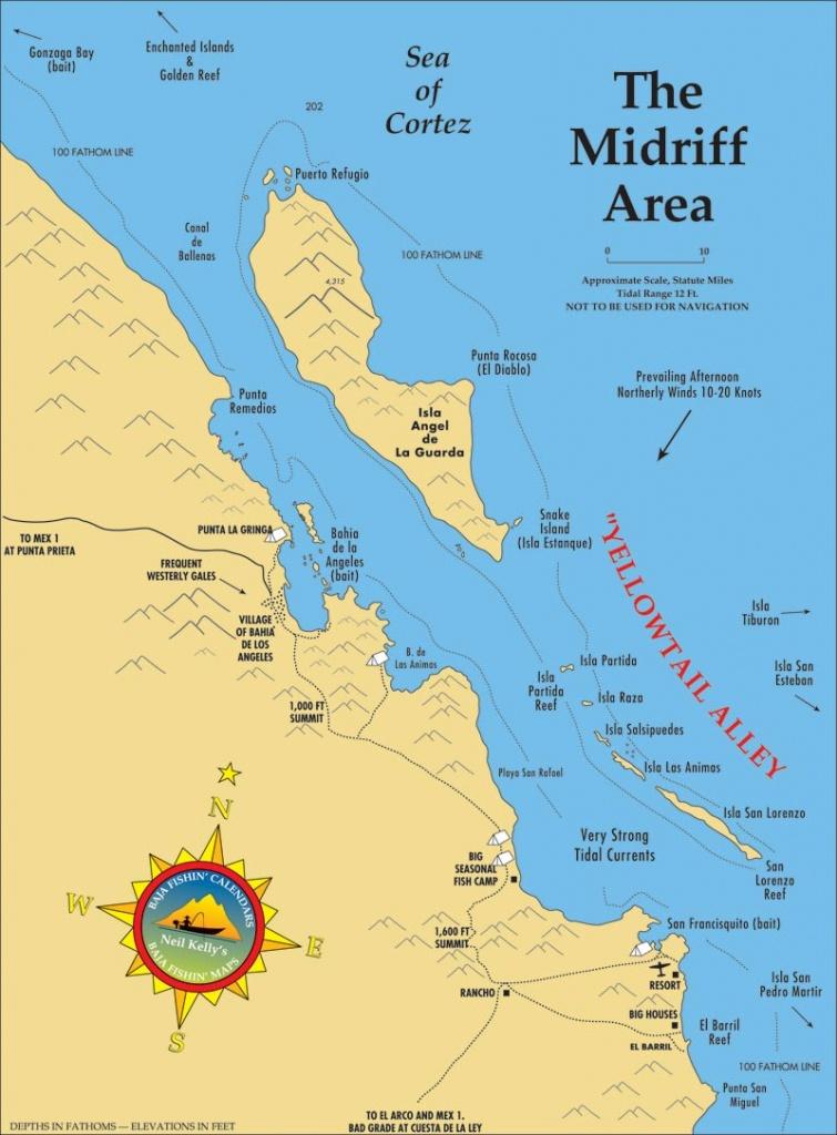 Midriff Islands Fishing Map - California Fishing Map