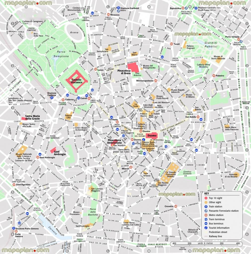 Milan Map - Central Milan Attractions Printable Map Showing Top 10 - Printable Map Of Milan City Centre
