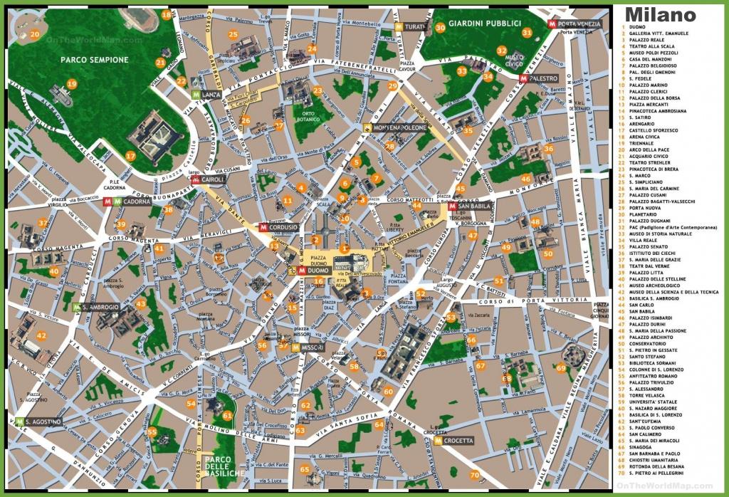 Milan Sightseeing Map - Printable Map Of Milan