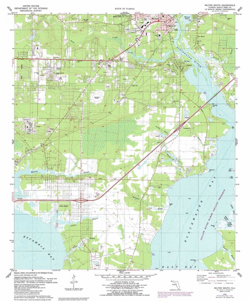 Milton South Topographic Map, Fl - Usgs Topo Quad 30087E1 - South Florida Topographic Map