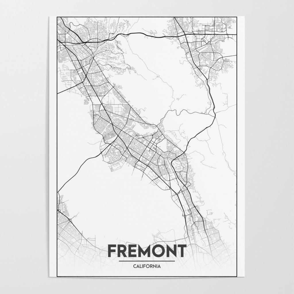 Minimal City Maps - Map Of Fremont, California, United States Poster - Fremont California Map