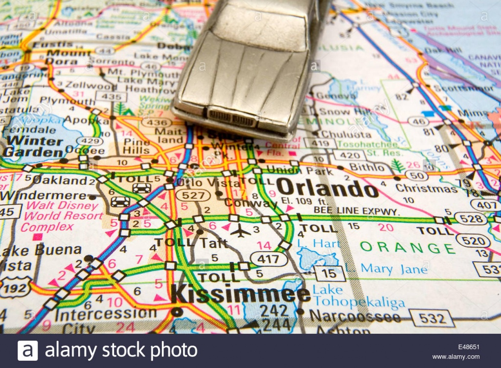 Model Sedan On A Road Map Of Orlando And Kissimmee Fl Stock Photo - Road Map Of Orlando Florida