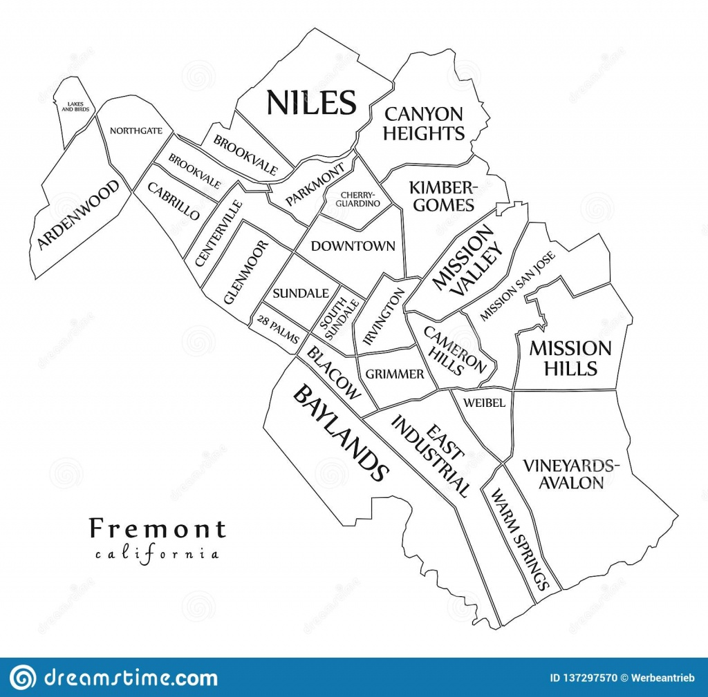 Modern City Map - Fremont California City Of The Usa With - Fremont California Map