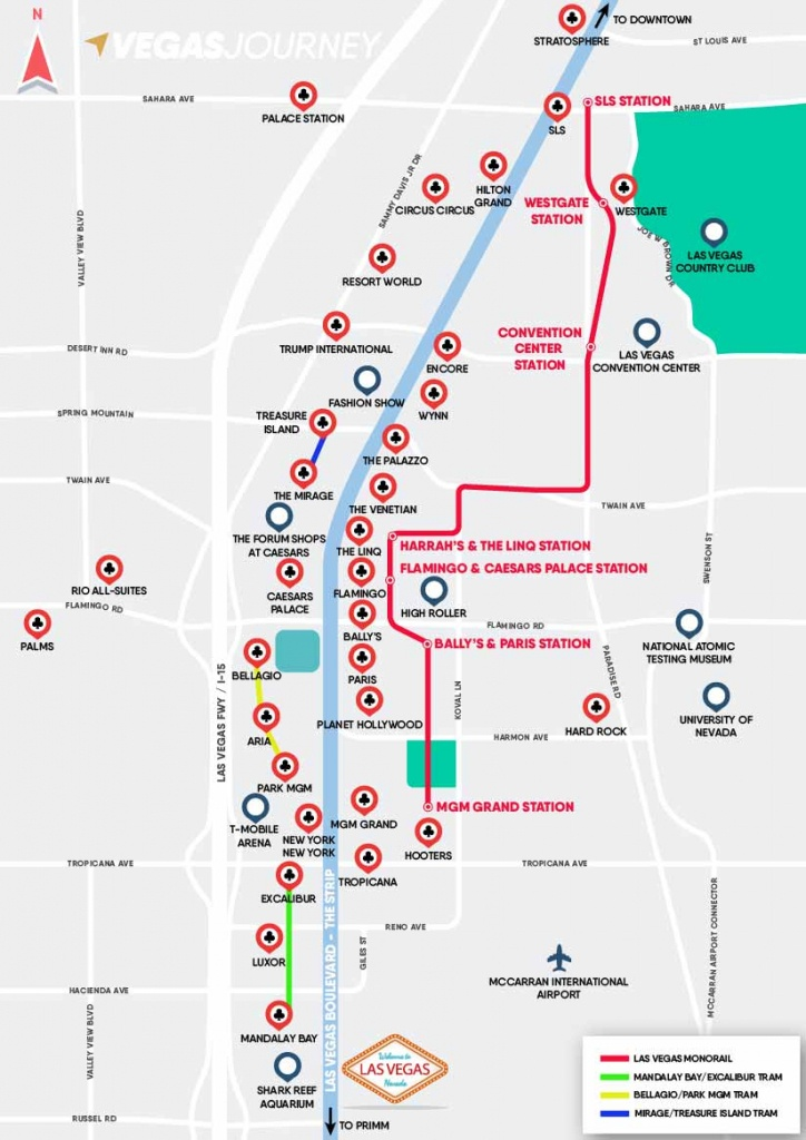 Monorail, Tram & Strip Map | Las Vegas Maps | Vegasjourney - Printable Map Of Las Vegas Strip 2018