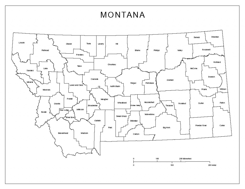Montana Labeled Map - Printable Map Of Montana