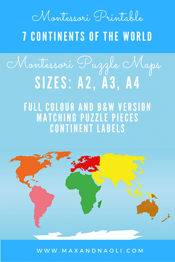 Montessori Puzzle Maps - 7 Continents Of The World | Montessori - World Map Puzzle Printable