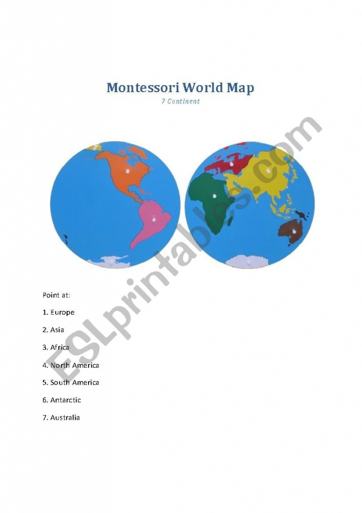 Montessori World Map - Worksheet - Esl Worksheetmillie9 - Montessori World Map Printable