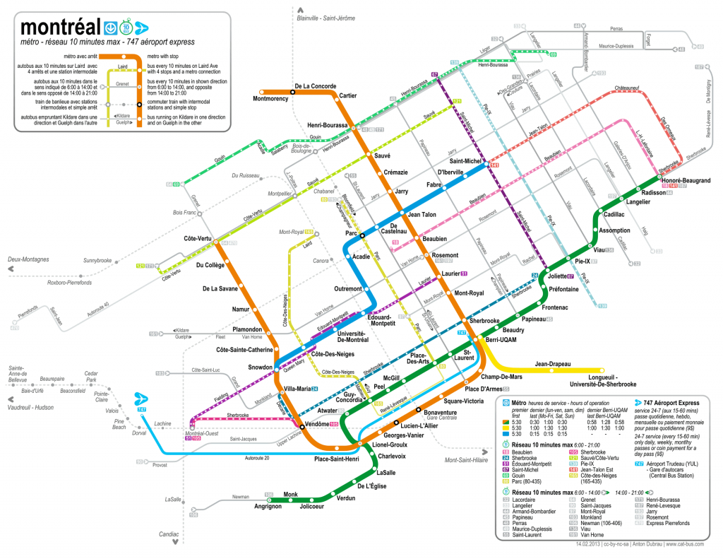 Montreal Buses - Map And Guide For Visitors To Montreal - Montreal Metro Map Printable