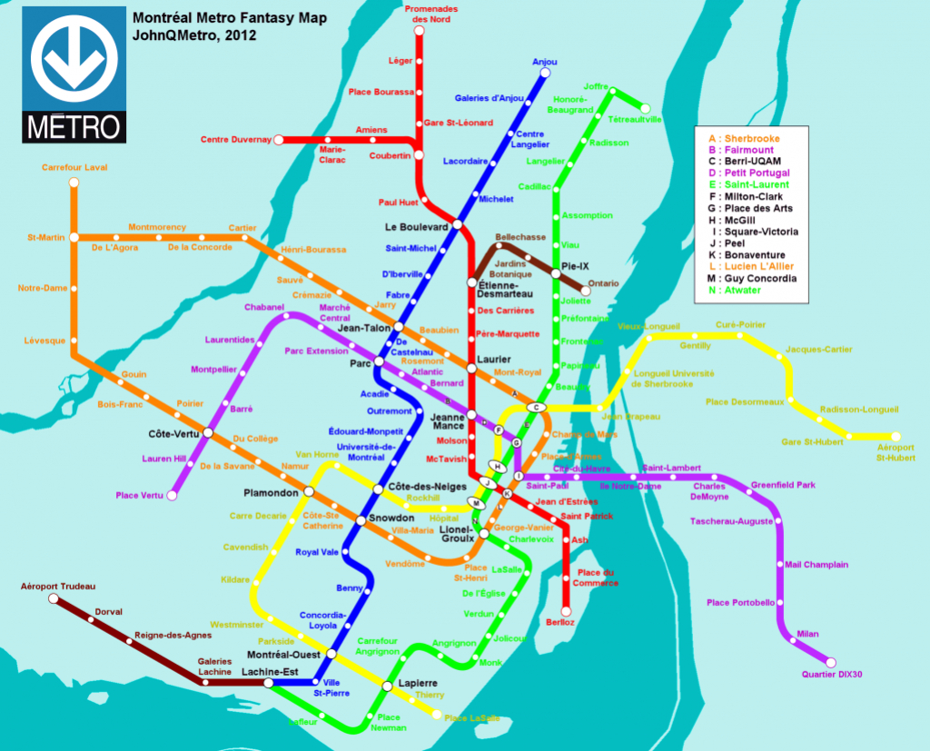 Montreal Future Metro Subway Expansion Map (Unofficial Proposal - Montreal Metro Map Printable