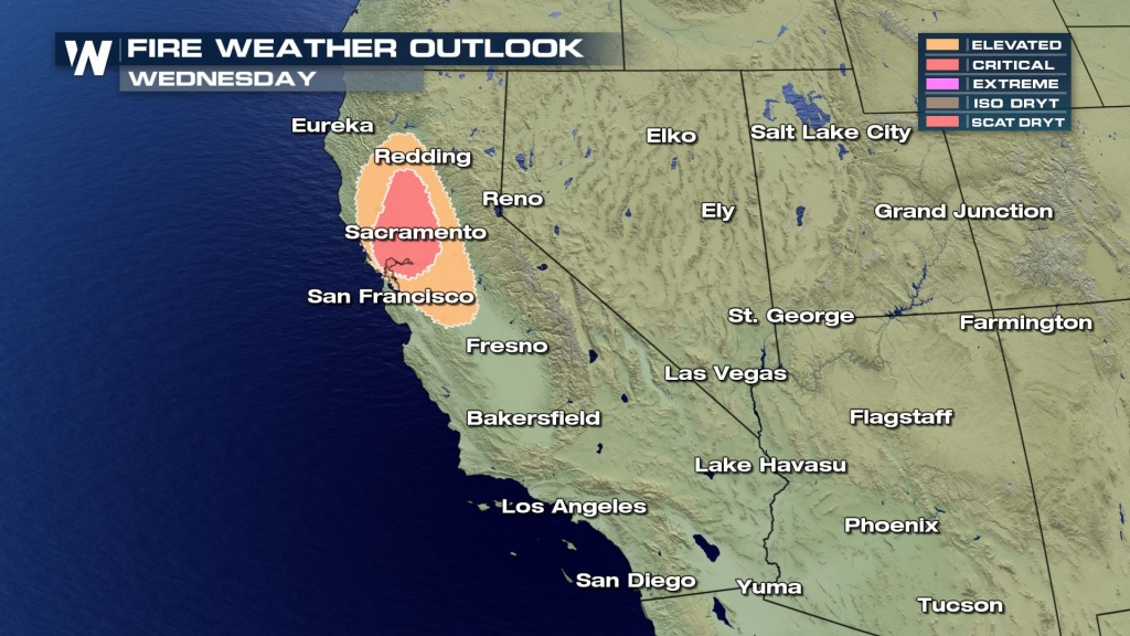 More High Fire Weather Conditions For California Wednesday And Thursday - Fire Watch California Map