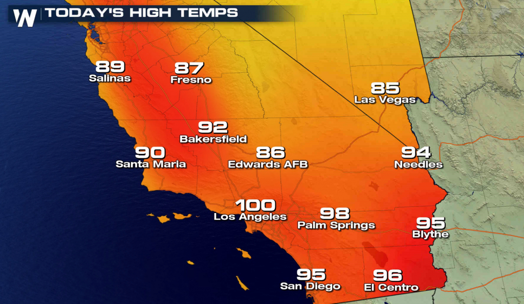 More Record Heat In Southern California - Hot Again For The World - California Heat Map