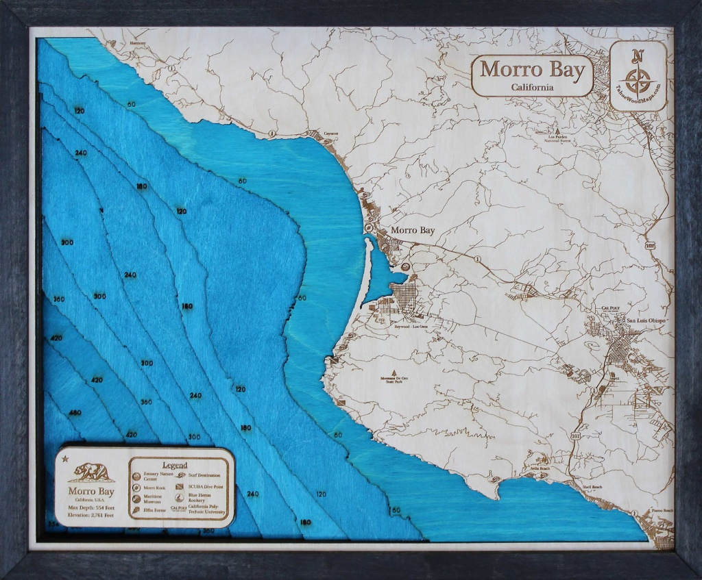 Morro Bay 3D Wood Map • Tahoe Wood Maps - Morro Bay California Map