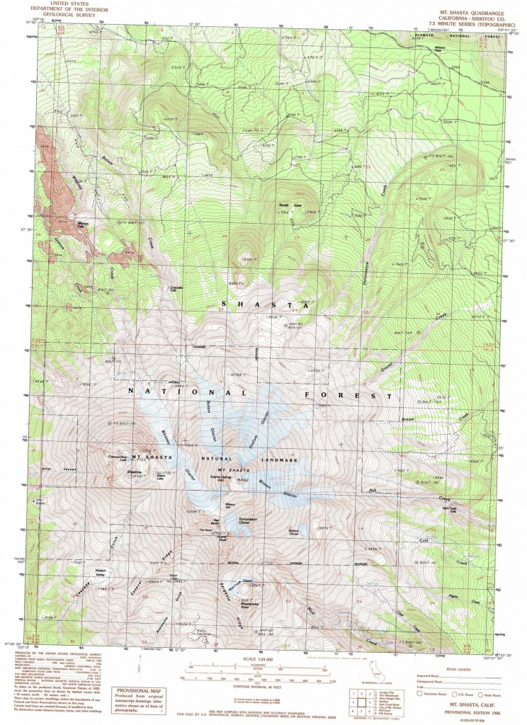 Mount Shasta Topographic Map, Ca - Usgs Topo Quad 41122D2 - Mount Shasta California Map