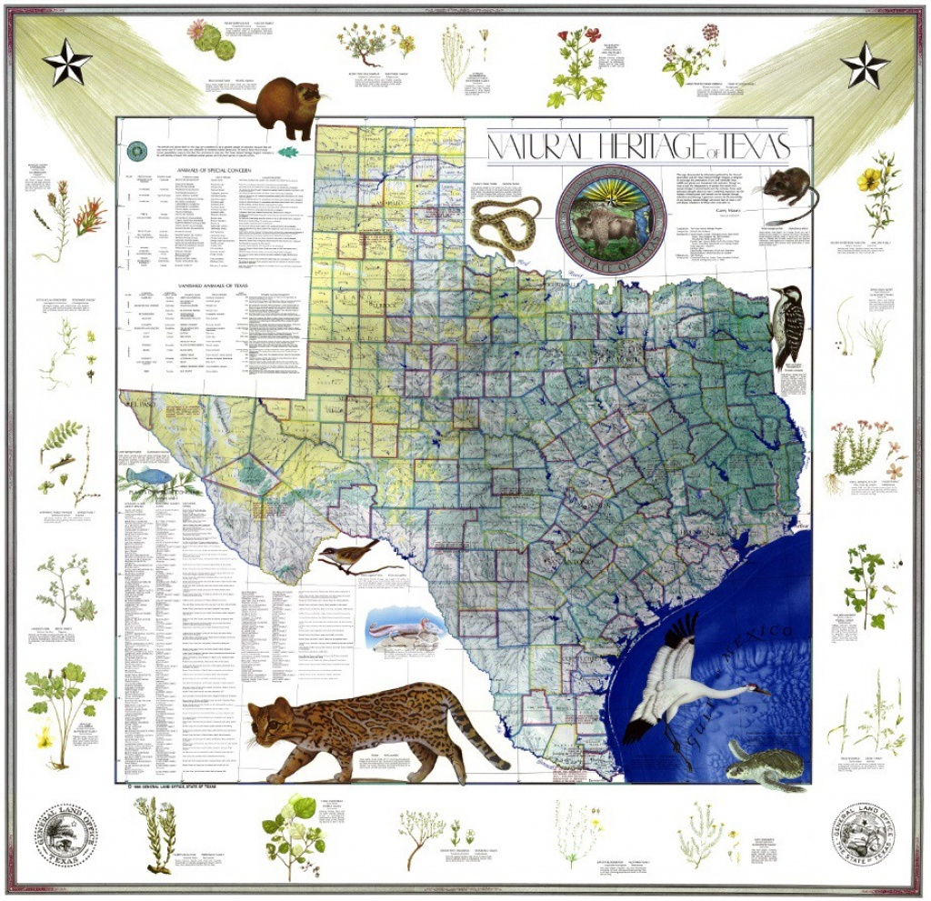 My Favorite Map: The Natural Heritage Map Of Texas, 1986 - Texas Land Office Maps