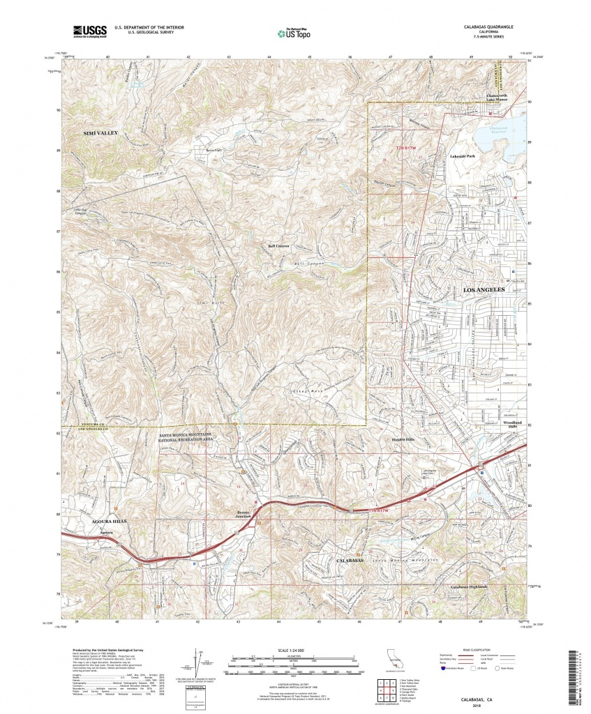Mytopo Calabasas, California Usgs Quad Topo Map - Calabasas California Map