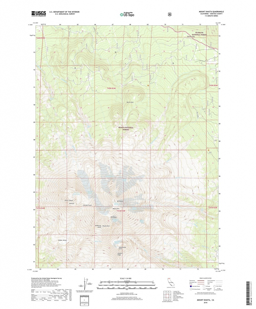 Mytopo Mount Shasta, California Usgs Quad Topo Map - Mount Shasta California Map