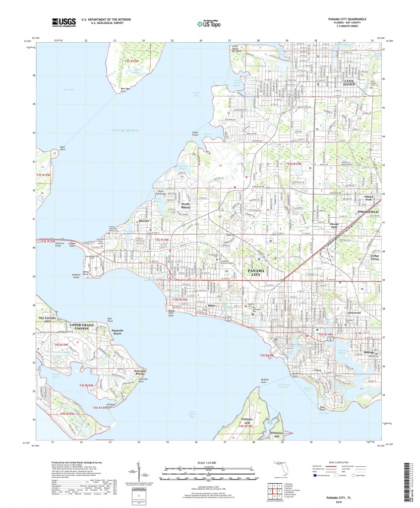 Mytopo Panama City, Florida Usgs Quad Topo Map - Panama Florida Map