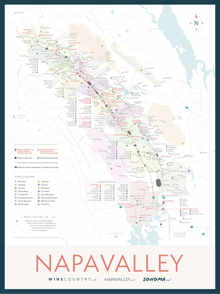 Napa Valley Wine Country Maps - Napavalley - Napa Winery Map Printable