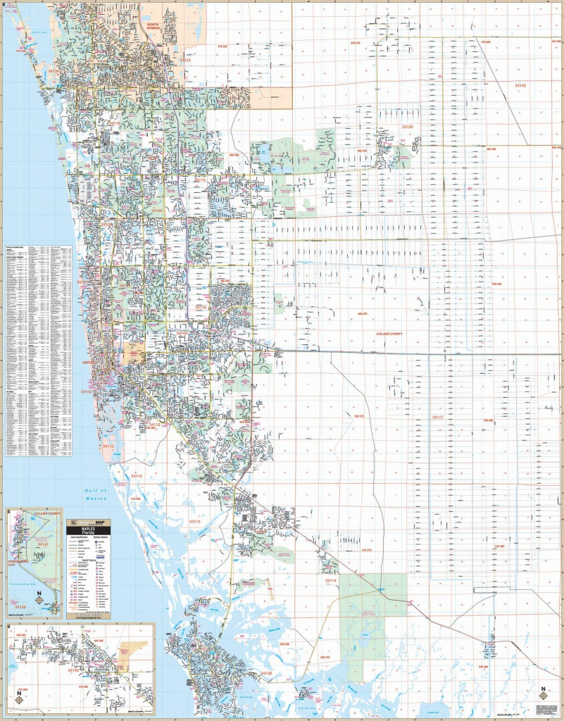 Naples & Collier Co, Fl Wall Map – Kappa Map Group - Map Of Bonita Springs And Naples Florida