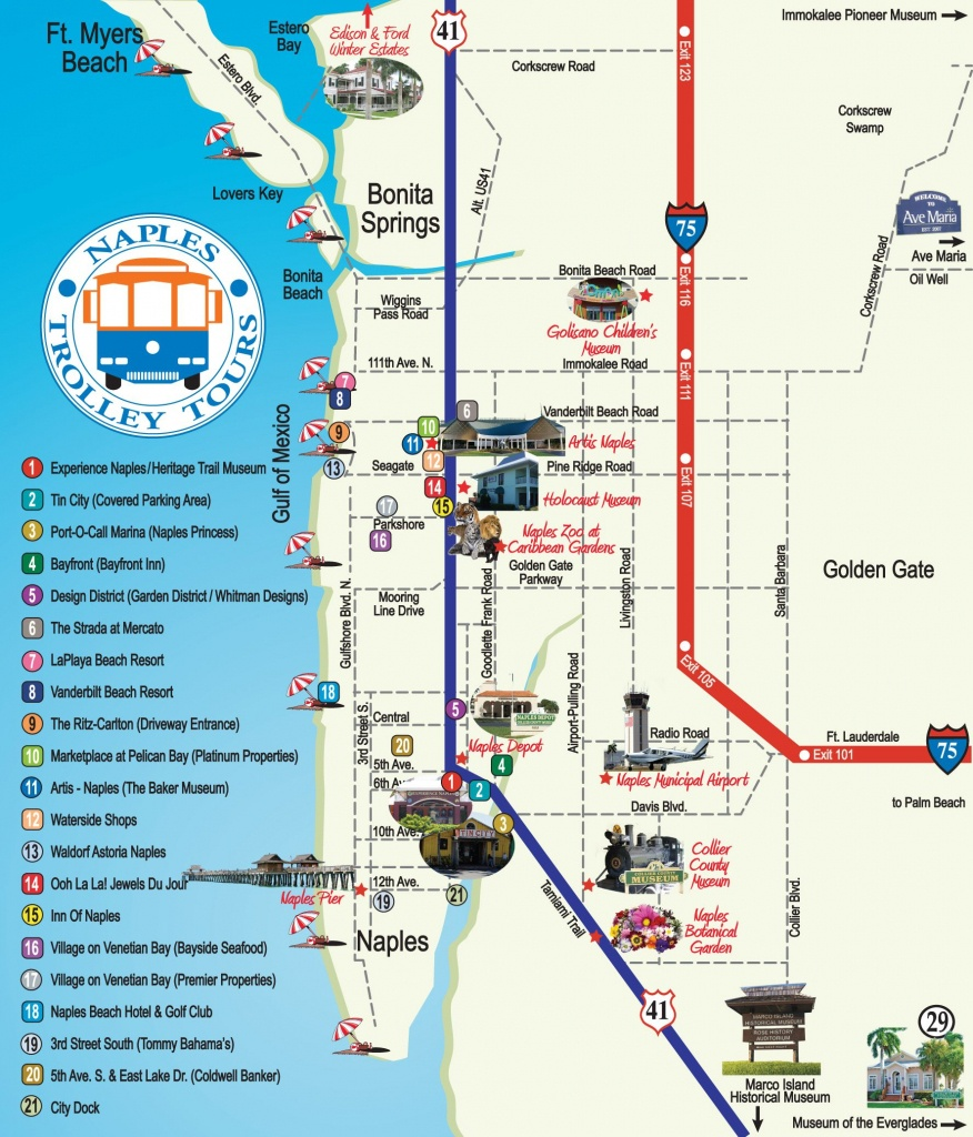 Naples Trolley - Route Map | Fav Places In My Home State..florida - Naples Florida Attractions Map