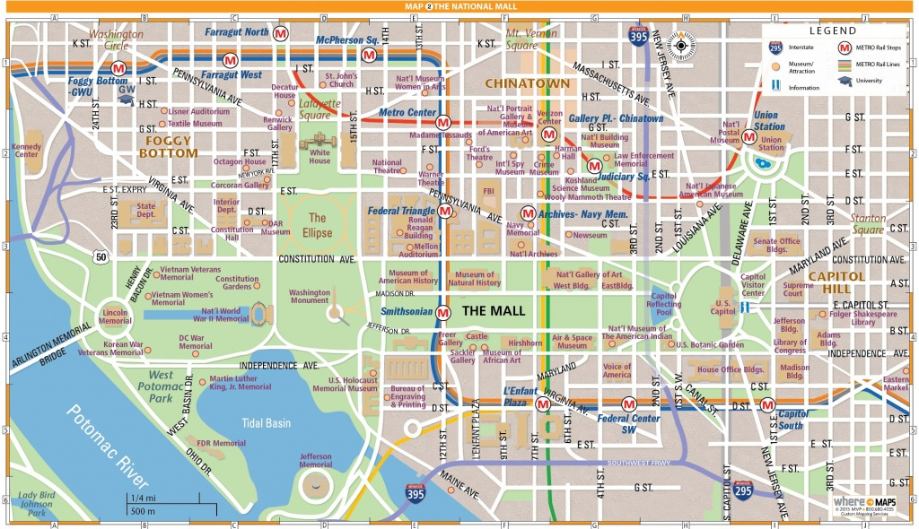 National Mall Map In Washington, D.c. | Wheretraveler - Washington Dc City Map Printable