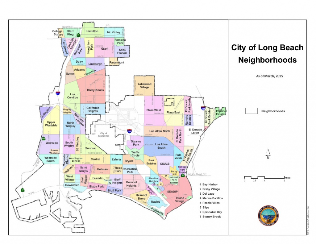Neighborhoods Of Long Beach, California - Wikipedia - Long Beach California Map