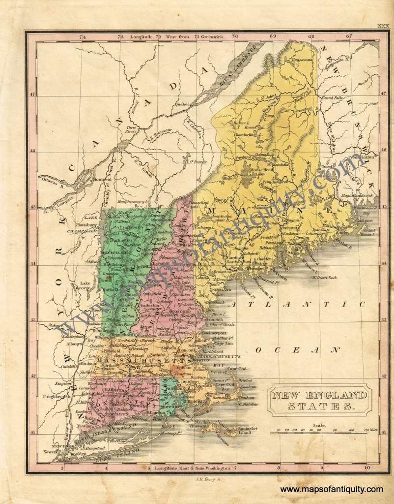 New England States - Antique Maps And Charts – Original, Vintage - Printable Map Of New England States