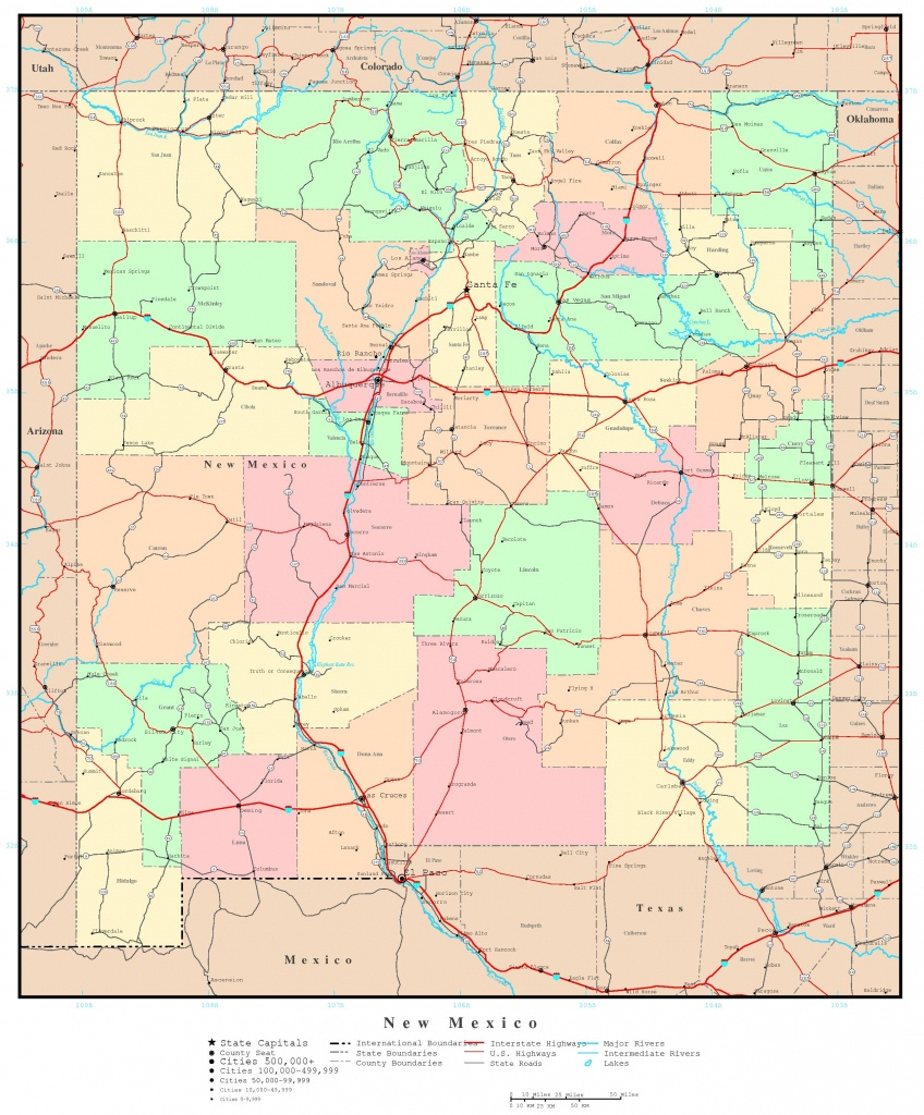 New Mexico Map - Online Maps Of New Mexico State - New Mexico State Map Printable