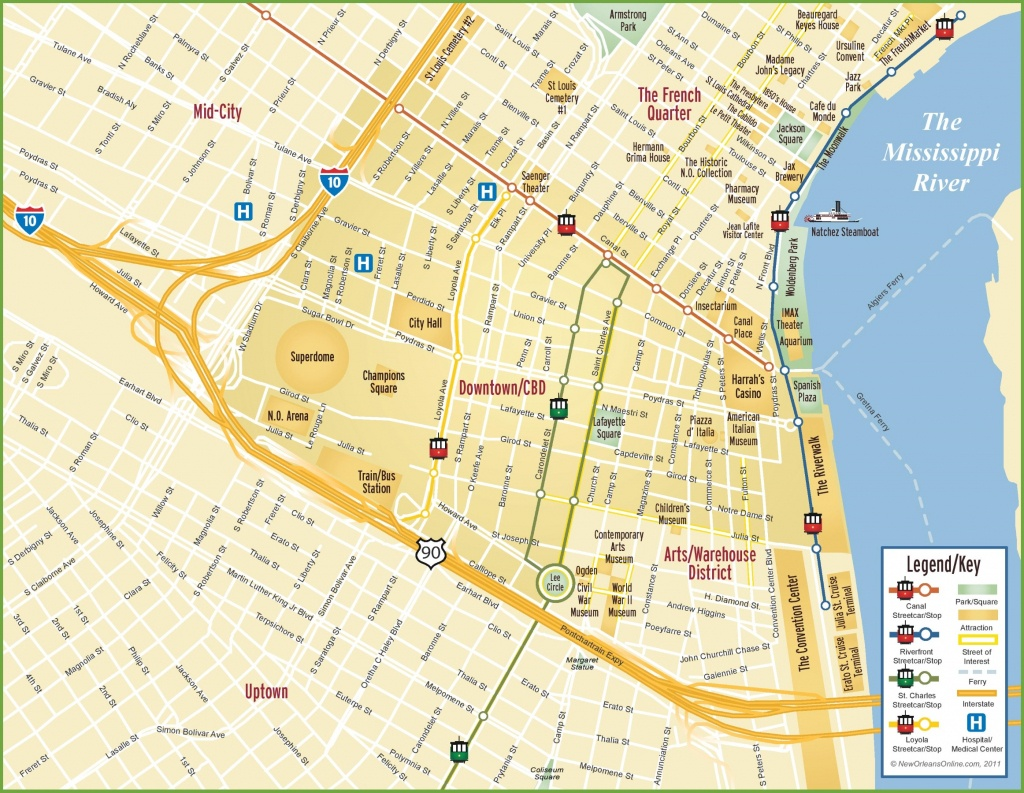 New Orleans Cbd And Downtown Map - Printable Map Of New Orleans