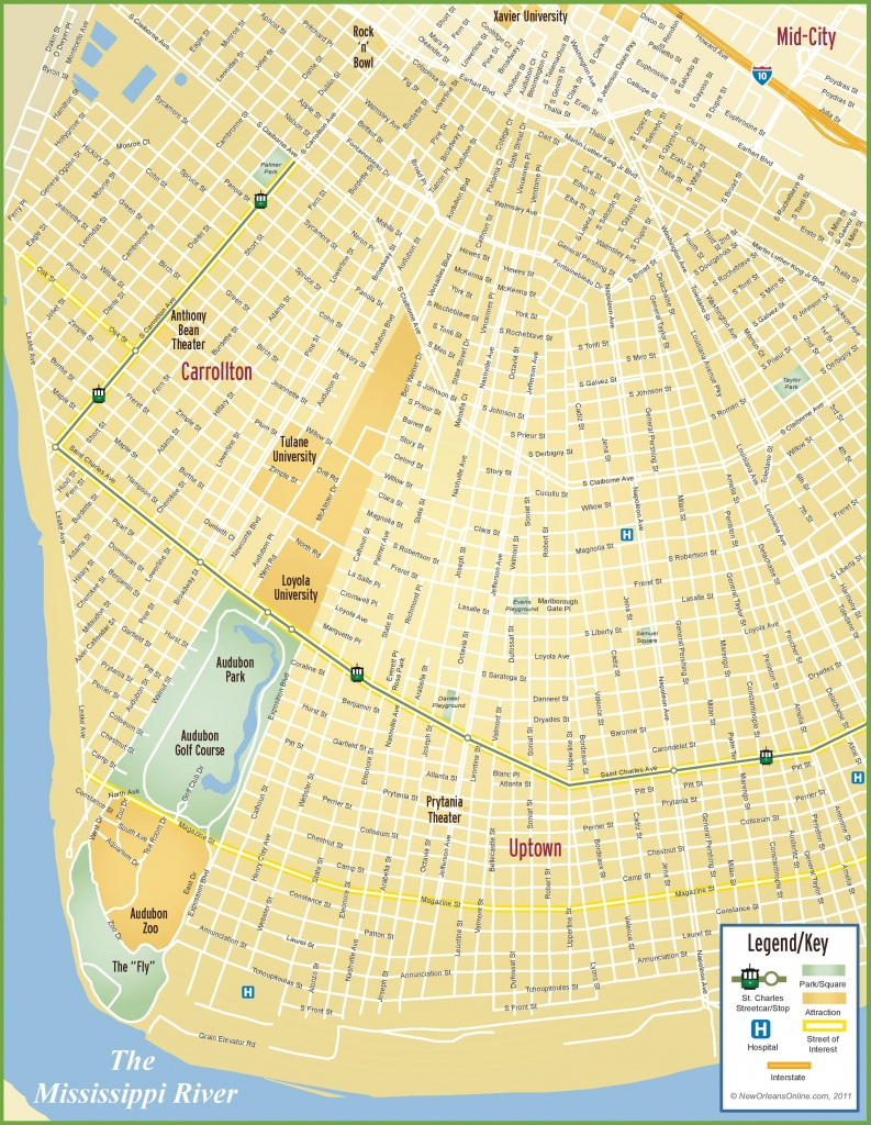 New Orleans Uptown Map - New Orleans Street Map Printable