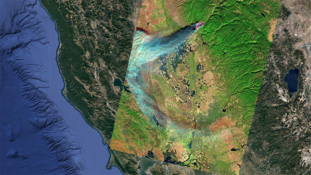 New Satellite View Of Camp Fire As It Burned Through Paradise - Live Satellite Map California