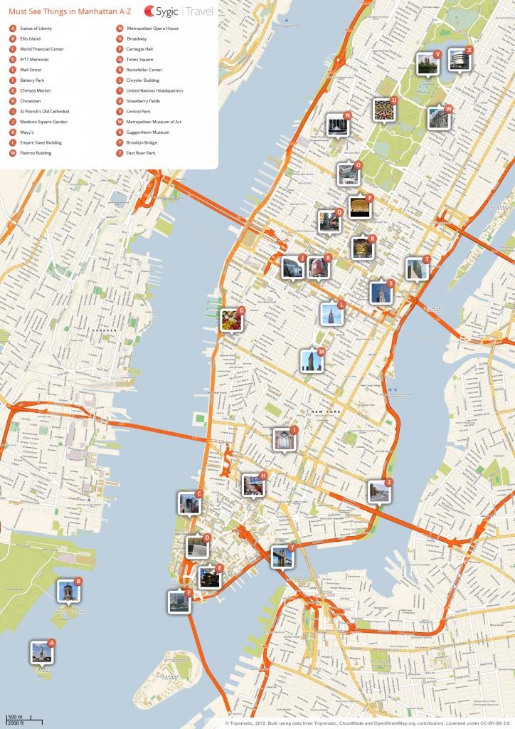 New York City Manhattan Printable Tourist Map   Sygic Travel - Printable Map Of Lower Manhattan Streets