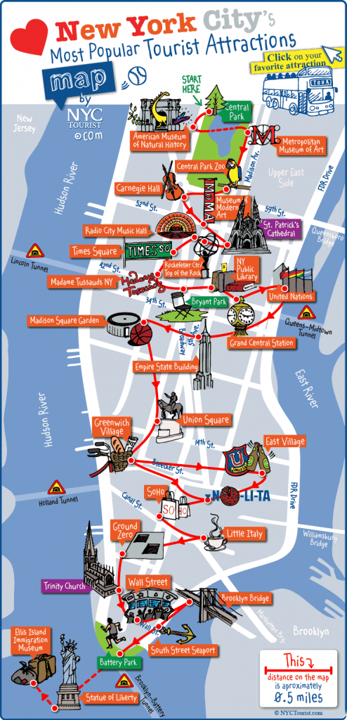 New York City Most Popular Attractions Map - Manhattan Map With Attractions Printable